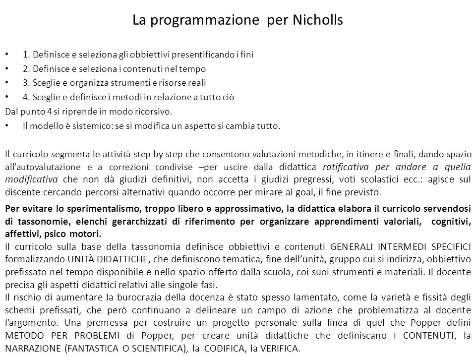 La programmazione per Nicholls