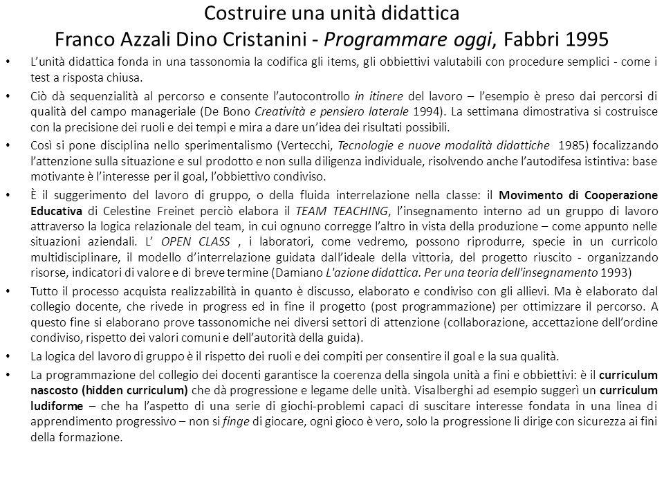 Costruire una unità didattica Franco Azzali Dino Cristanini - Programmare oggi, Fabbri 1995