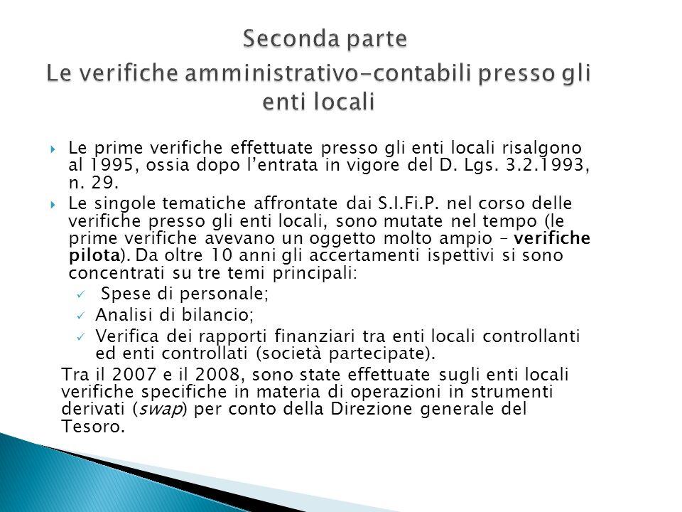 Seconda parte Le verifiche amministrativo-contabili presso gli enti locali