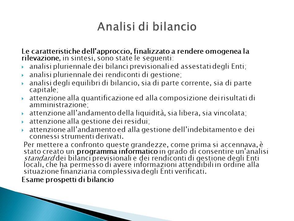 Analisi di bilancio Le caratteristiche dell'approccio, finalizzato a rendere omogenea la rilevazione, in sintesi, sono state le seguenti: