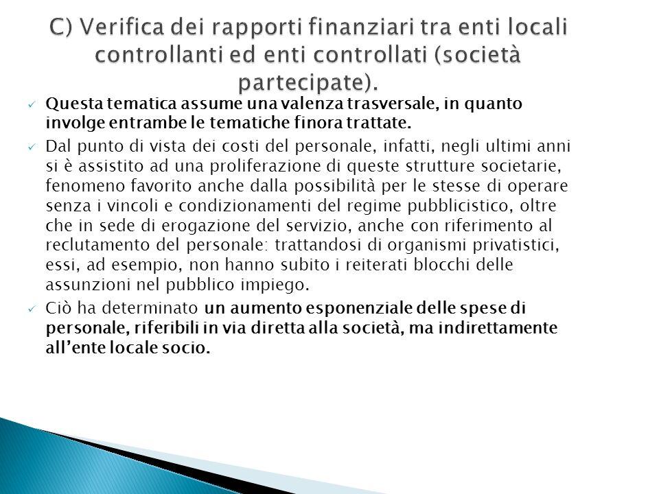 C) Verifica dei rapporti finanziari tra enti locali controllanti ed enti controllati (società partecipate).