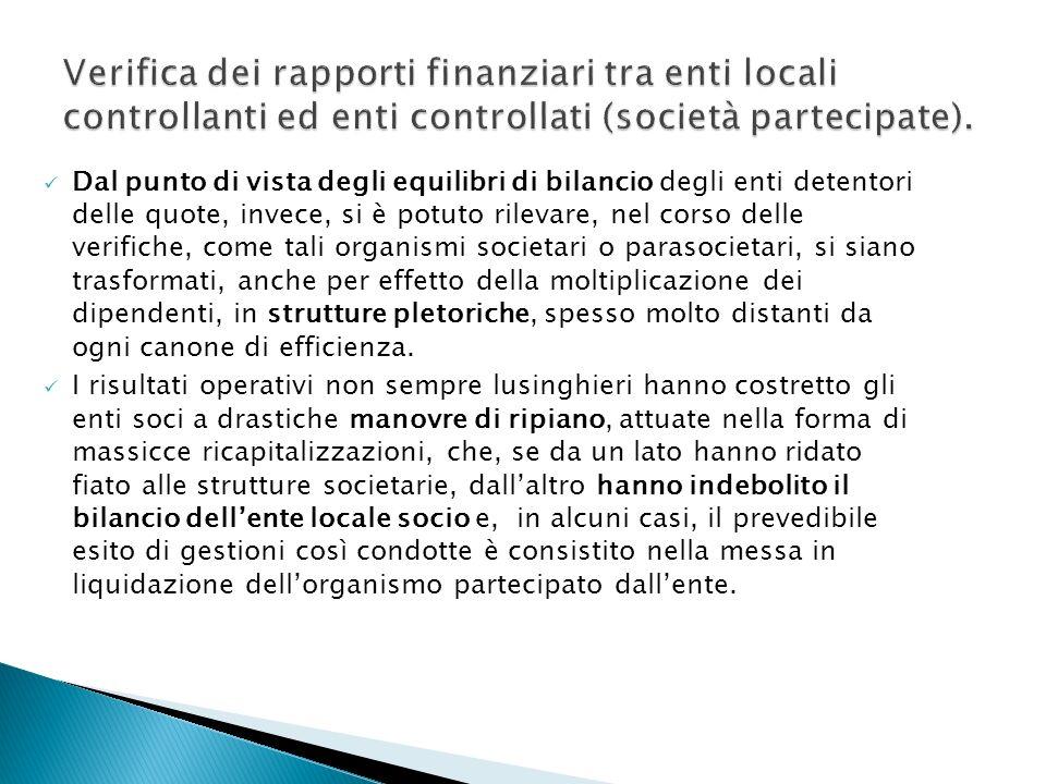 Verifica dei rapporti finanziari tra enti locali controllanti ed enti controllati (società partecipate).