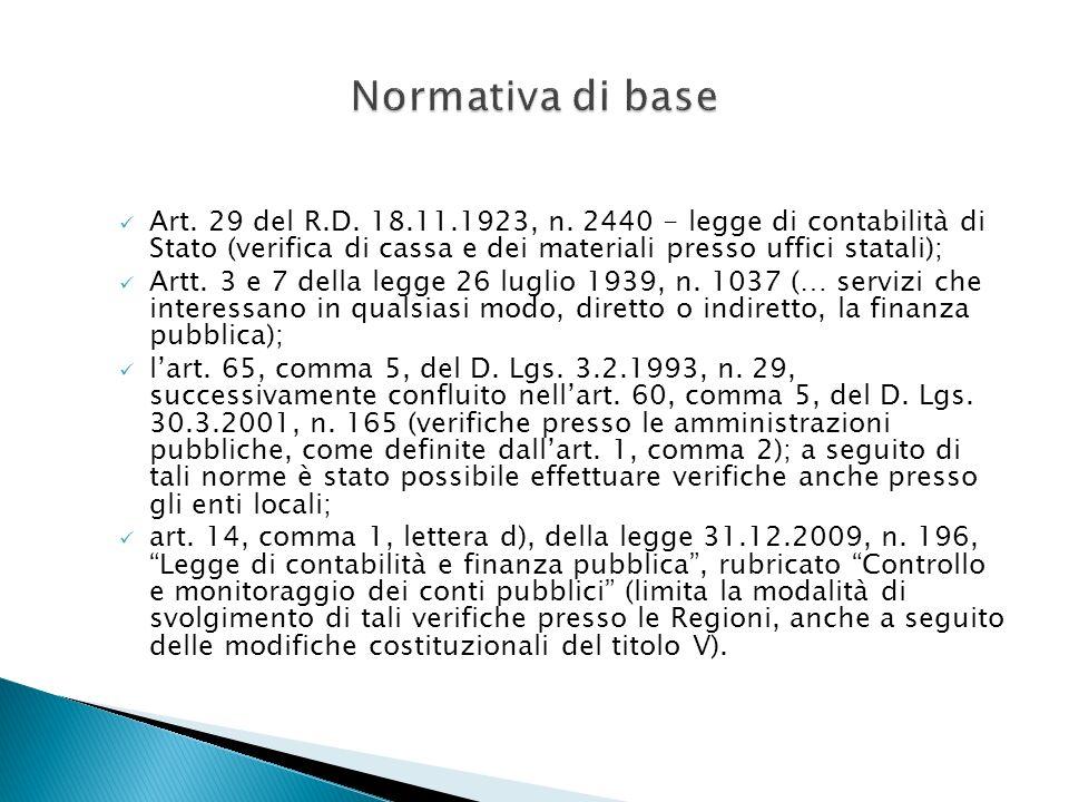 Normativa di base Art. 29 del R.D. 18.11.1923, n. 2440 - legge di contabilità di Stato (verifica di cassa e dei materiali presso uffici statali);