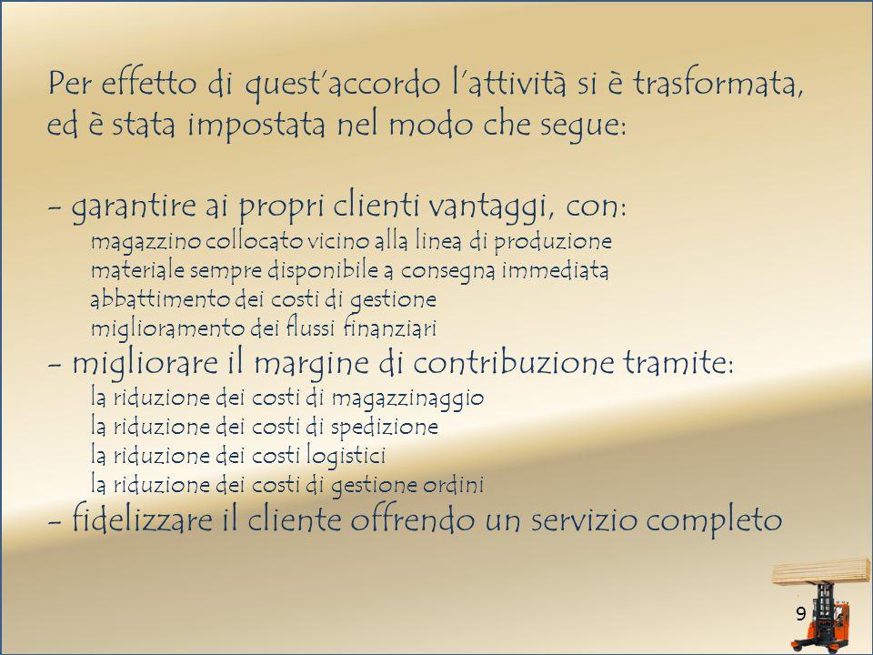 - garantire ai propri clienti vantaggi, con: