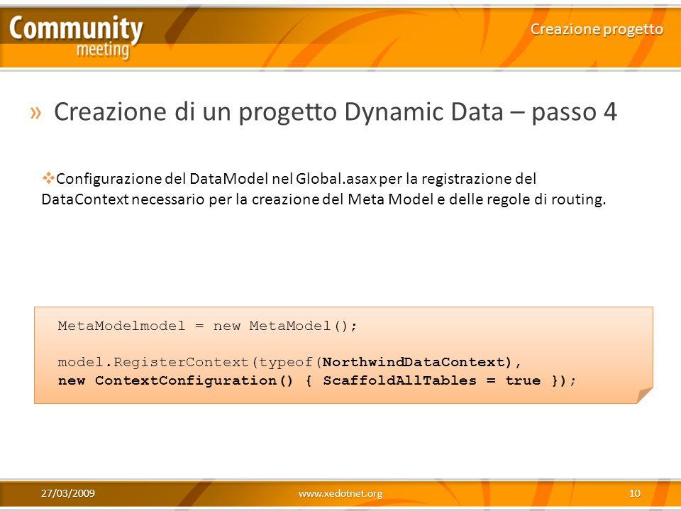 Creazione di un progetto Dynamic Data – passo 4