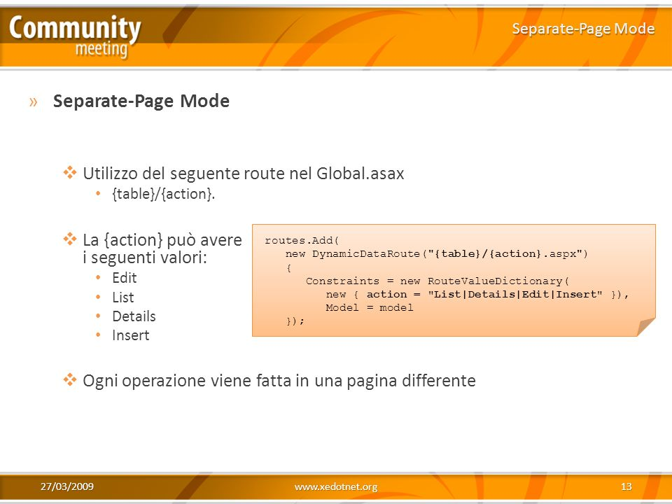 Separate-Page Mode Utilizzo del seguente route nel Global.asax