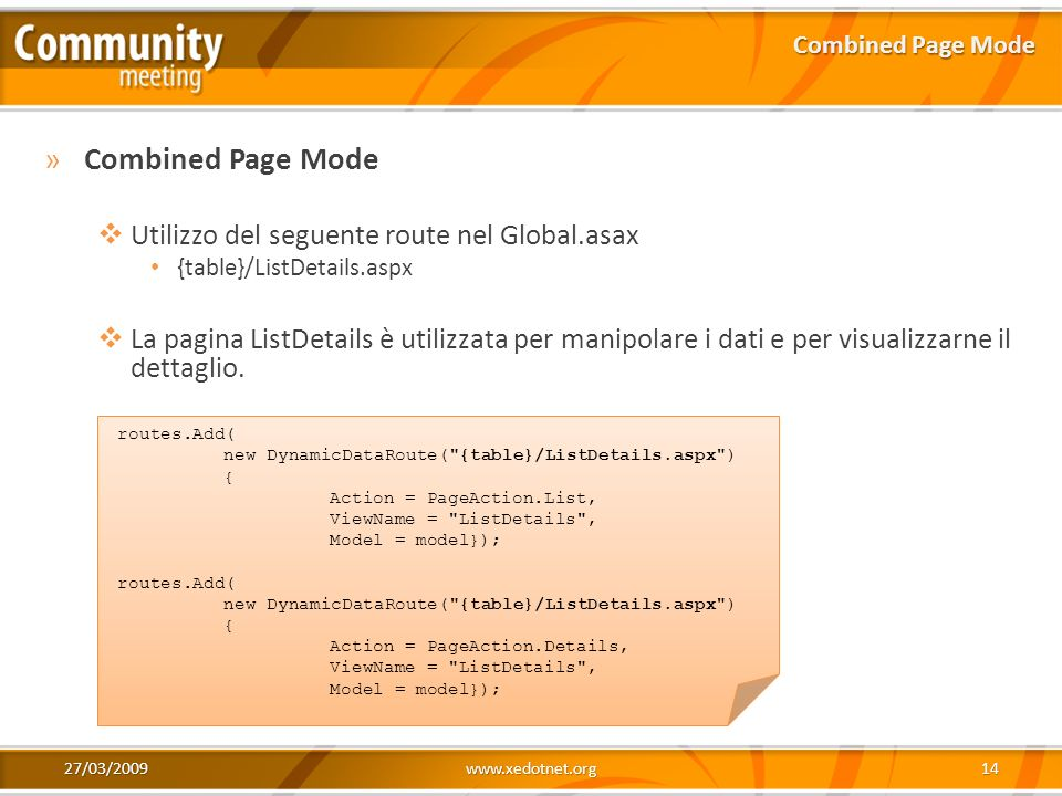Combined Page Mode Utilizzo del seguente route nel Global.asax