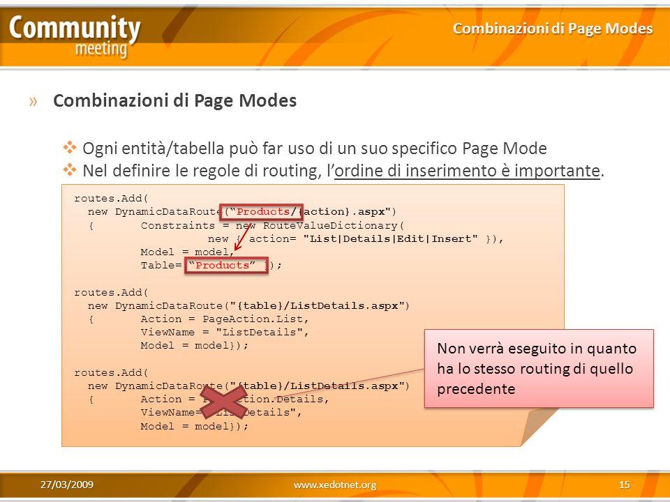 Combinazioni di Page Modes