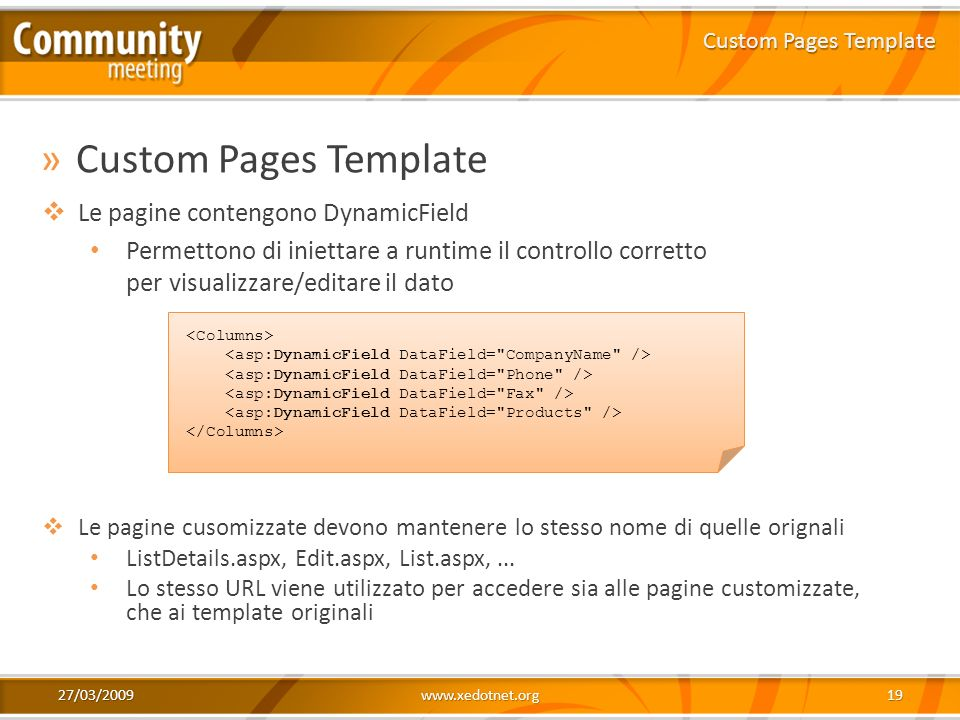 Custom Pages Template Le pagine contengono DynamicField