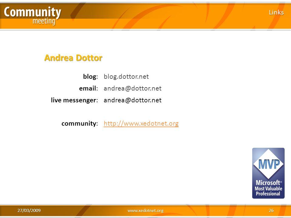Andrea Dottor Links blog: blog.dottor.net email: