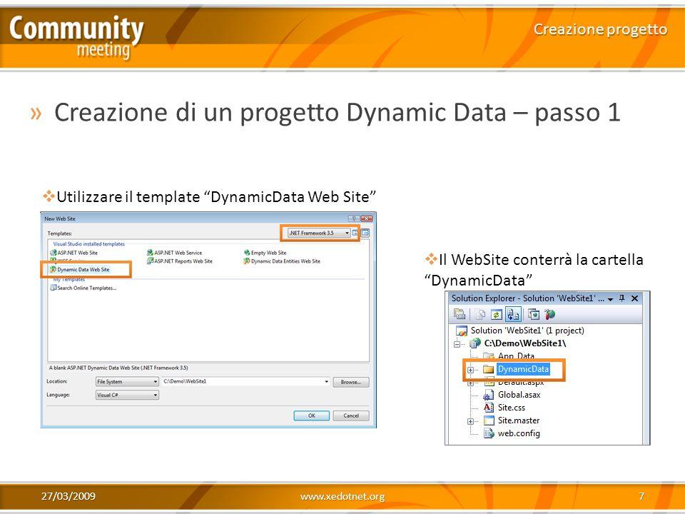 Creazione di un progetto Dynamic Data – passo 1