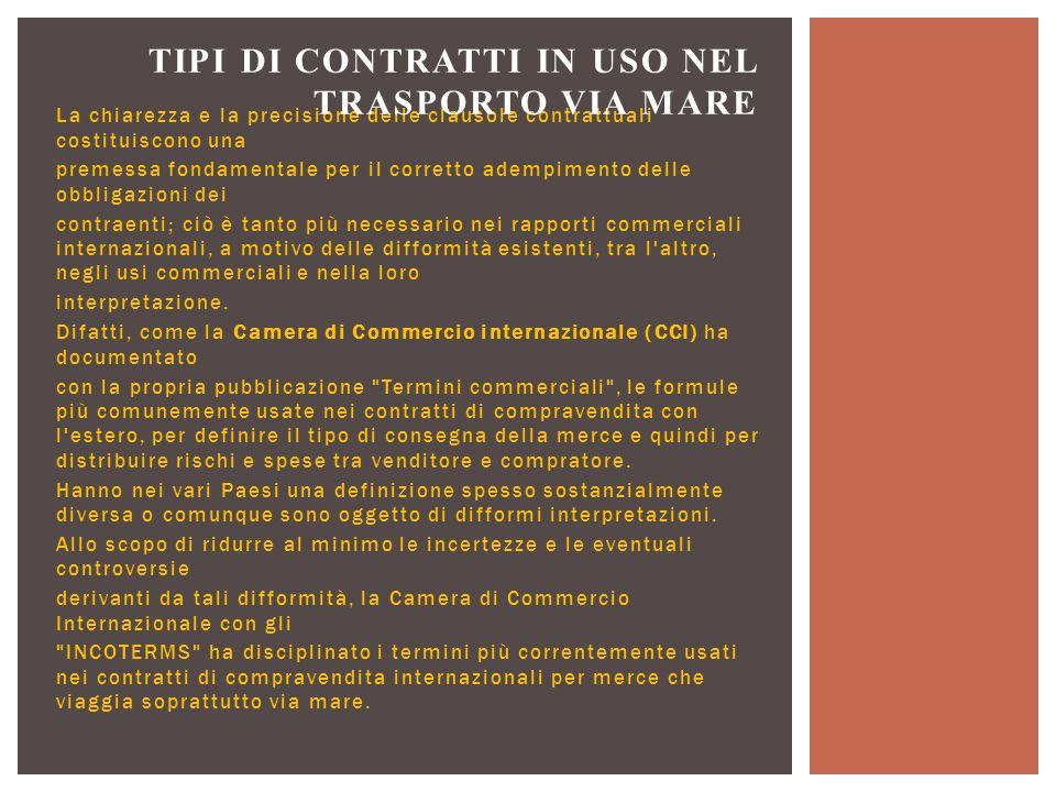 Tipi di contratti in uso nel trasporto via mare
