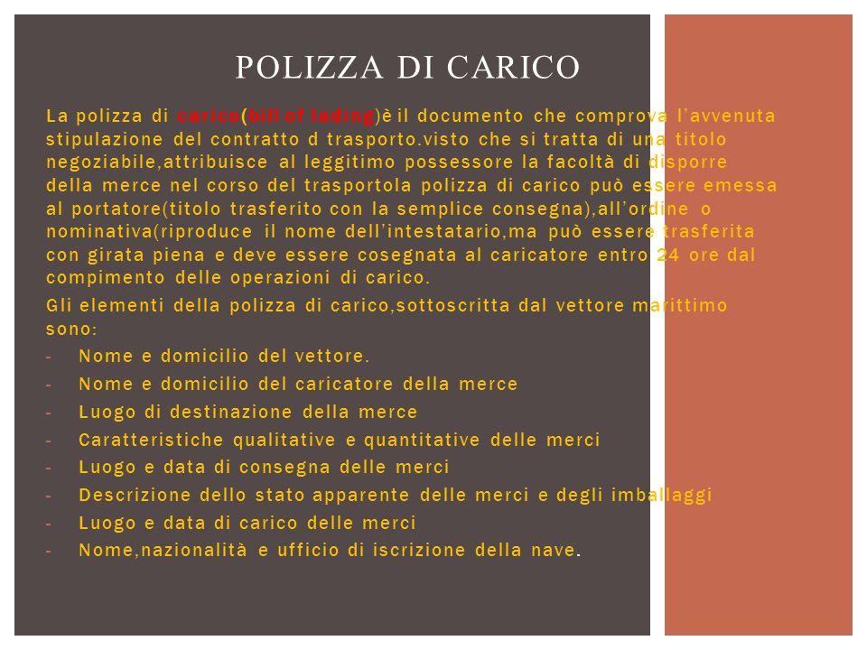 POLIZZA DI CARICO