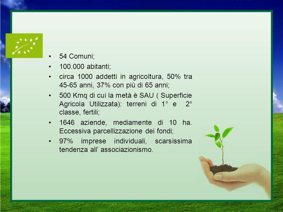 54 Comuni; 100.000 abitanti; circa 1000 addetti in agricoltura, 50% tra 45-65 anni, 37% con più di 65 anni;
