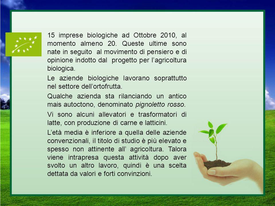 15 imprese biologiche ad Ottobre 2010, al momento almeno 20