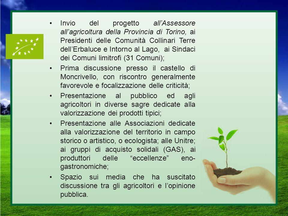 Invio del progetto all'Assessore all'agricoltura della Provincia di Torino, ai Presidenti delle Comunità Collinari Terre dell'Erbaluce e Intorno al Lago, ai Sindaci dei Comuni limitrofi (31 Comuni);