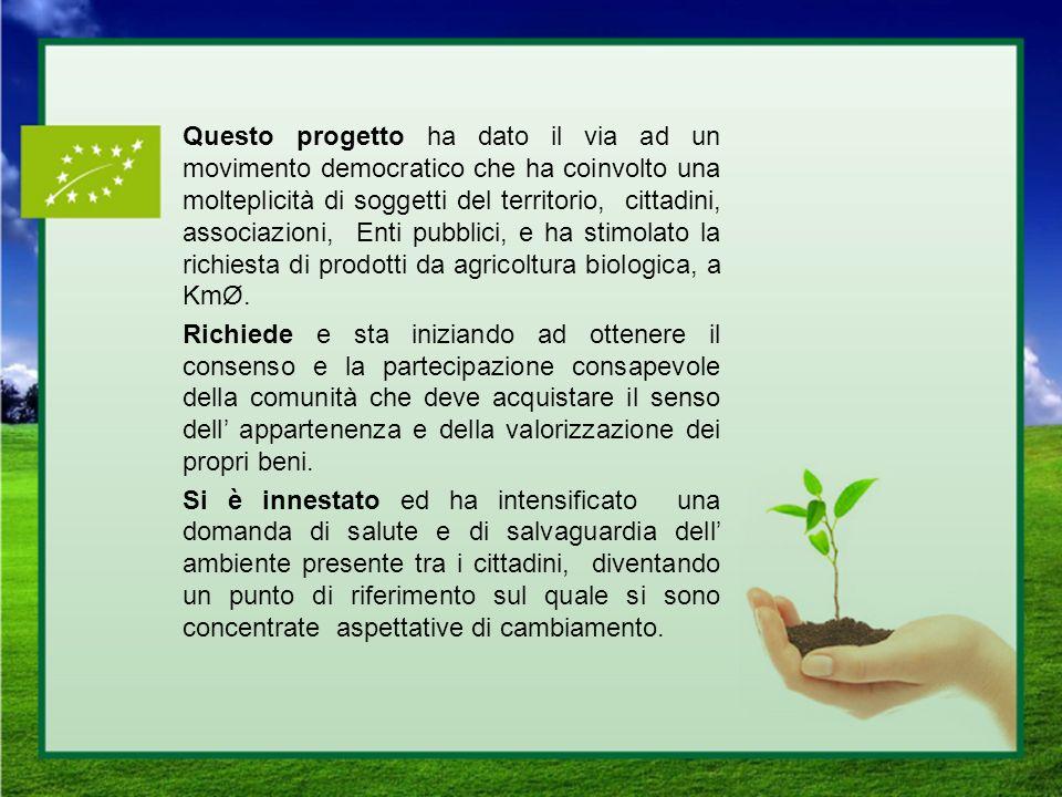 Questo progetto ha dato il via ad un movimento democratico che ha coinvolto una molteplicità di soggetti del territorio, cittadini, associazioni, Enti pubblici, e ha stimolato la richiesta di prodotti da agricoltura biologica, a KmØ.