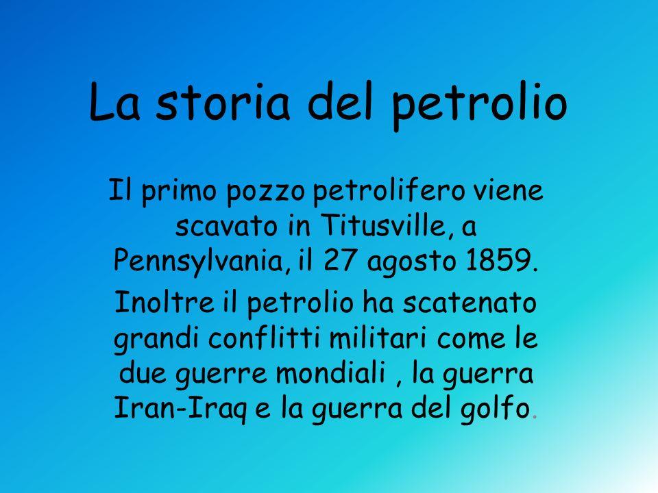 La storia del petrolio Il primo pozzo petrolifero viene scavato in Titusville, a Pennsylvania, il 27 agosto 1859.