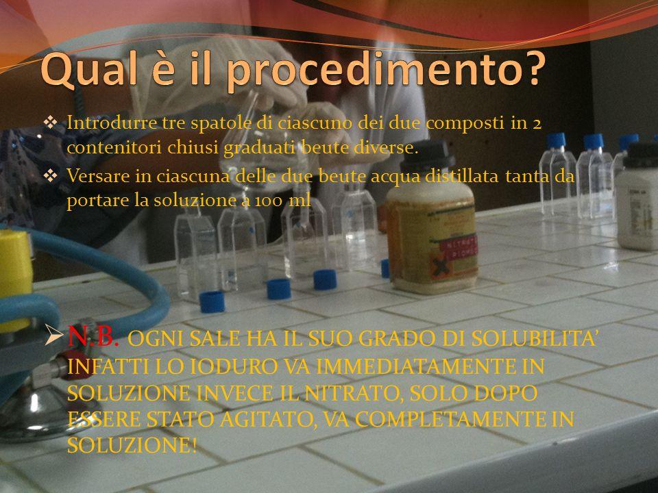Qual è il procedimento Introdurre tre spatole di ciascuno dei due composti in 2 contenitori chiusi graduati beute diverse.