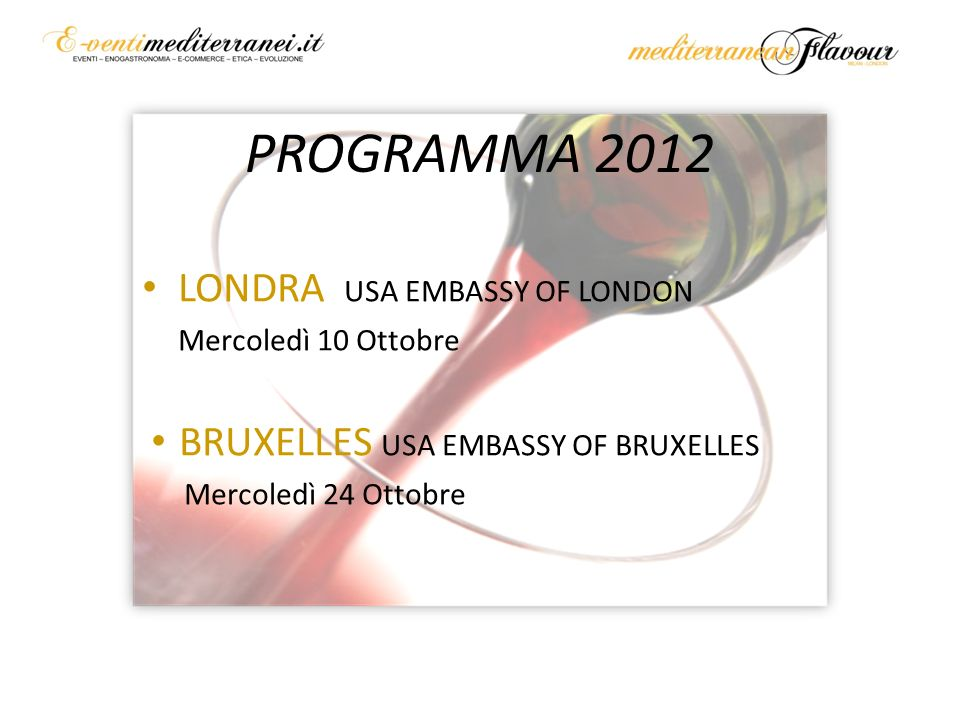 PROGRAMMA 2012 LONDRA USA EMBASSY OF LONDON