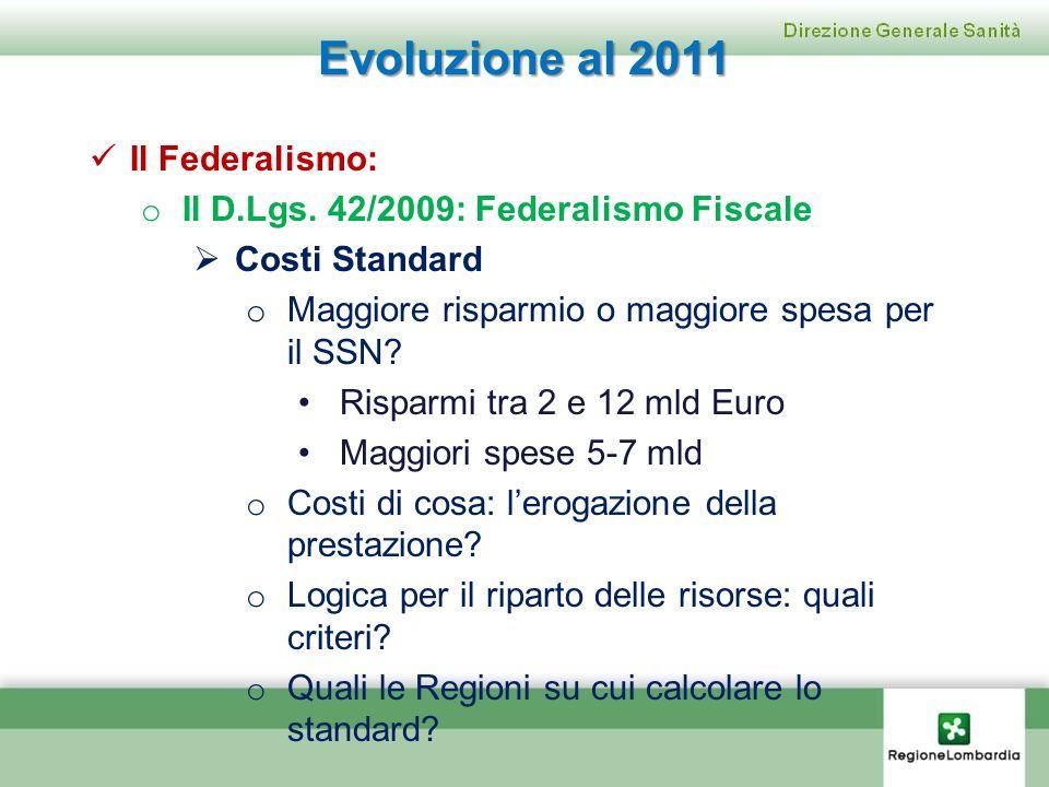 Evoluzione al 2011 Il Federalismo: