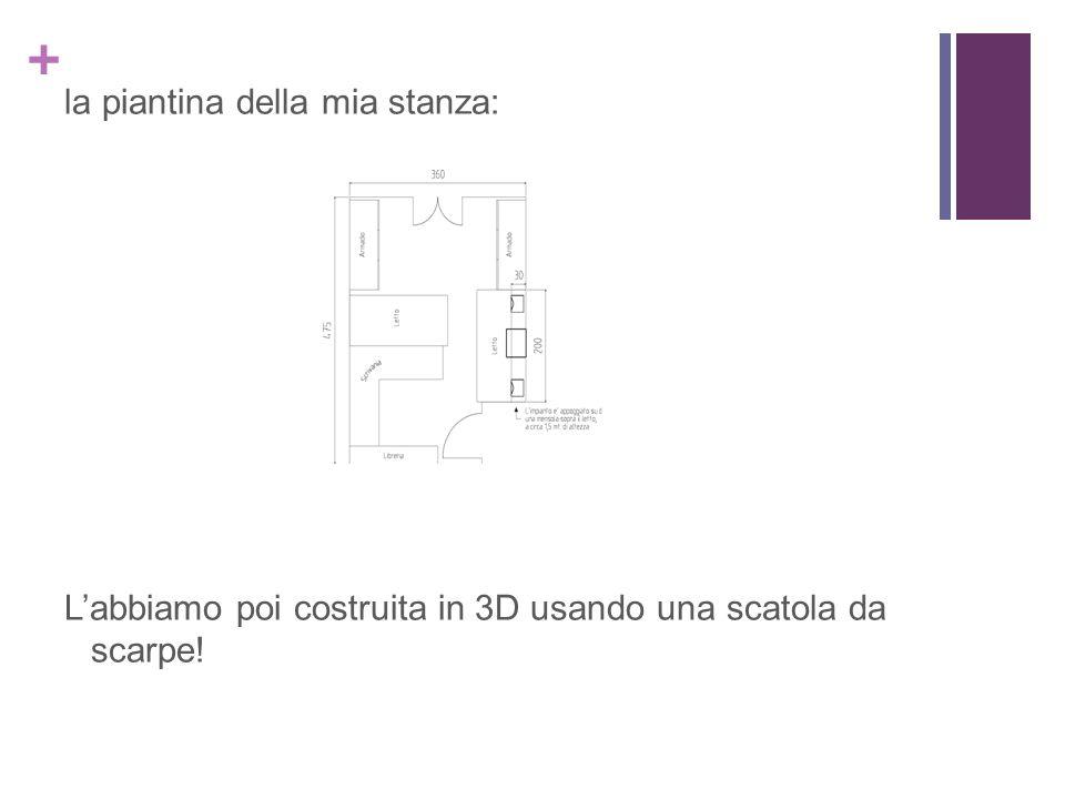la piantina della mia stanza: L'abbiamo poi costruita in 3D usando una scatola da scarpe!