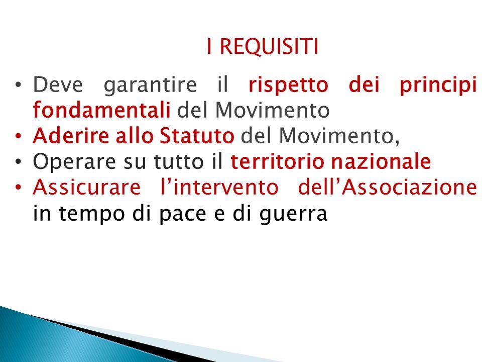 I REQUISITI Deve garantire il rispetto dei principi fondamentali del Movimento. Aderire allo Statuto del Movimento,