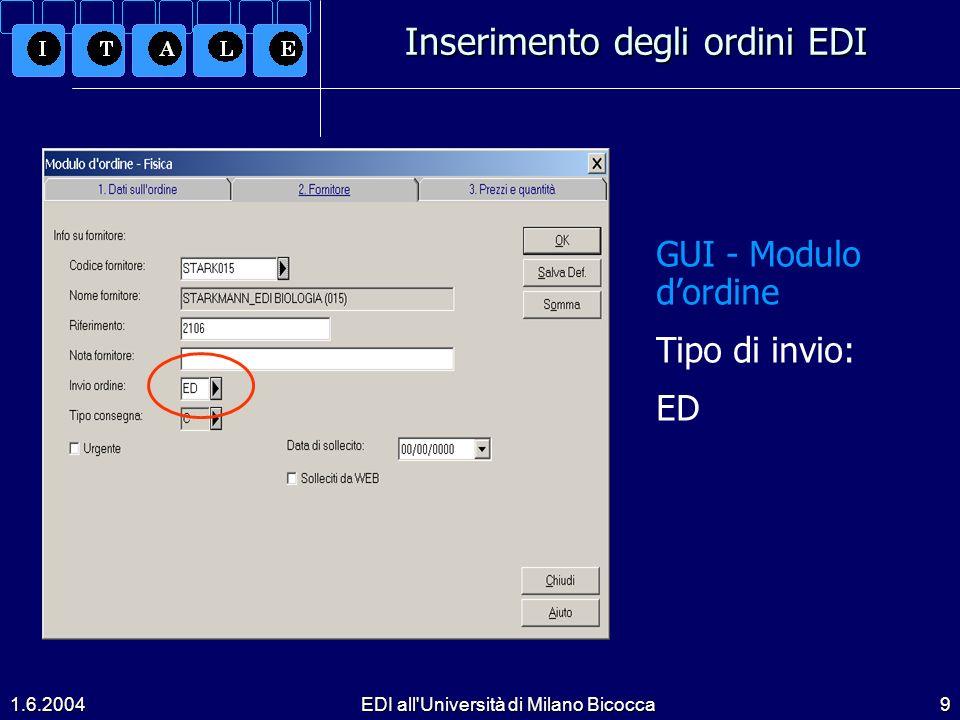 Inserimento degli ordini EDI