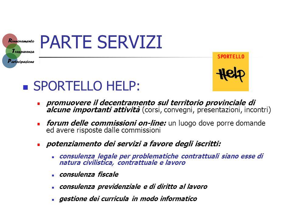 PARTE SERVIZI SPORTELLO HELP: