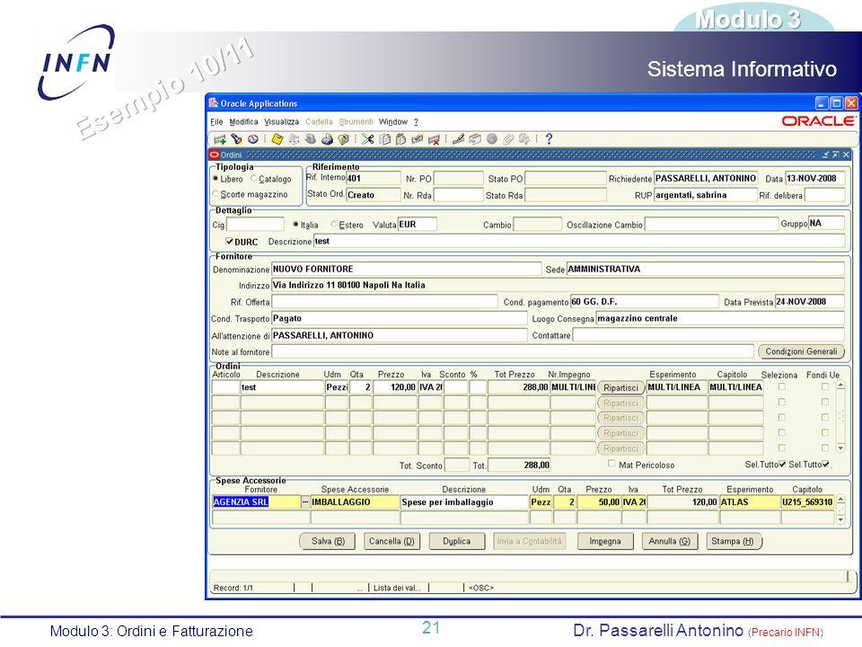 Esempio 10/11 Modulo 3 Sistema Informativo 21