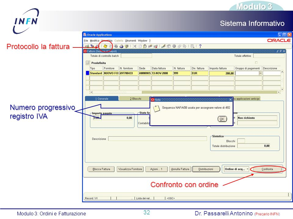 Modulo 3 Sistema Informativo Protocollo la fattura Numero progressivo