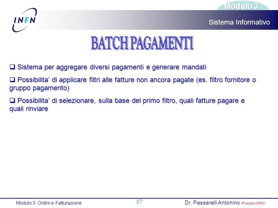 BATCH PAGAMENTI Modulo 3 Sistema Informativo