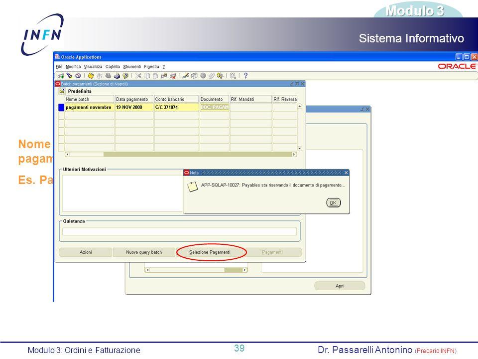 Modulo 3 Sistema Informativo Nome univoco assegnato ai pagamenti.