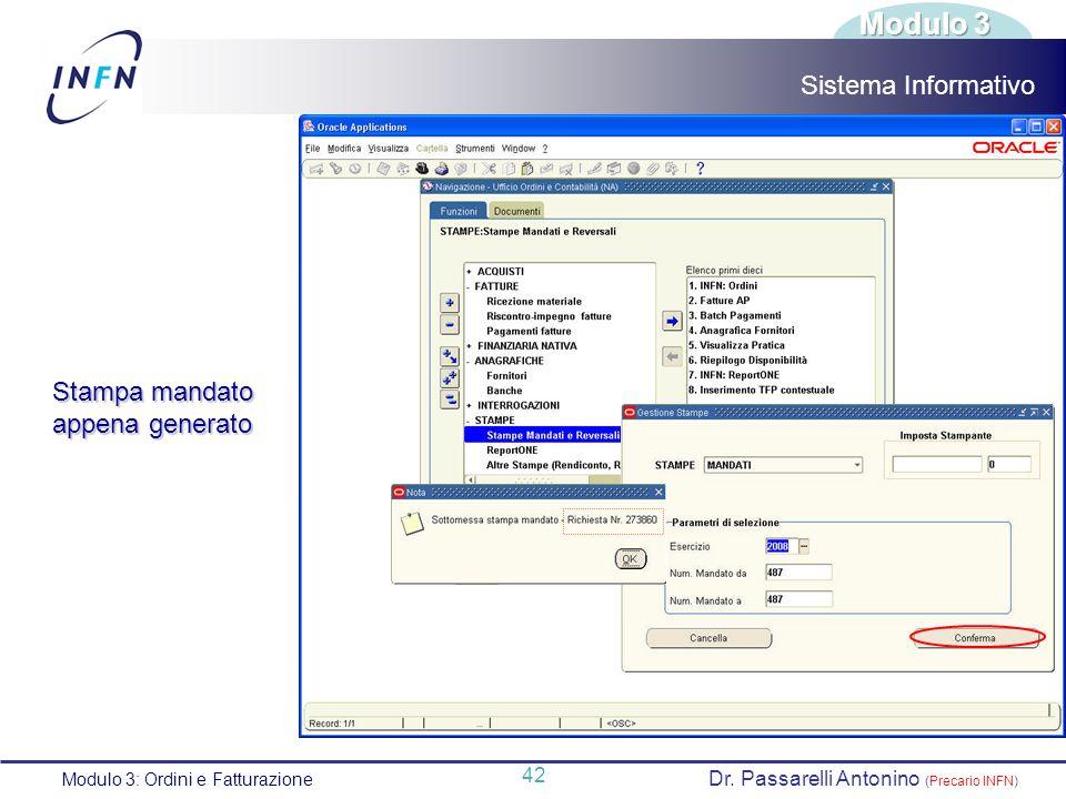 Modulo 3 Sistema Informativo Stampa mandato appena generato 42