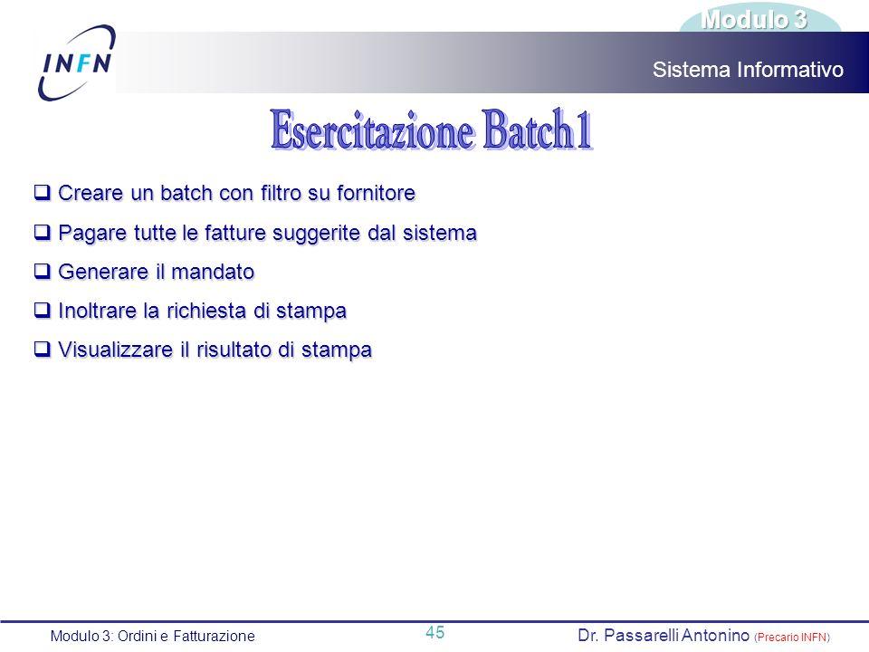 Esercitazione Batch1 Modulo 3 Sistema Informativo
