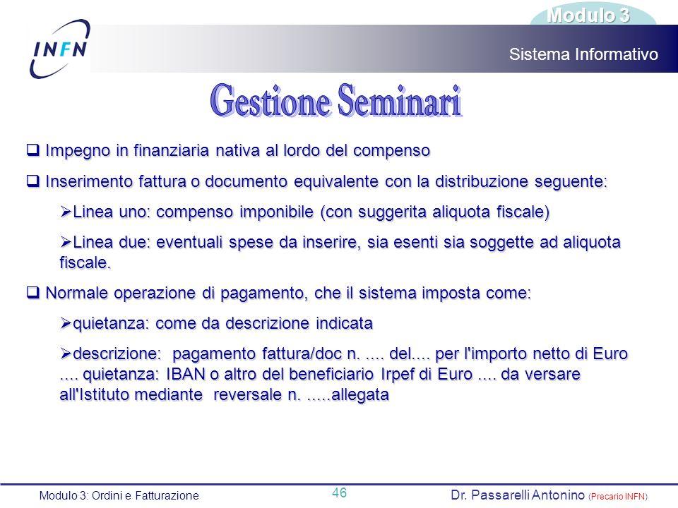 Gestione Seminari Modulo 3 Sistema Informativo