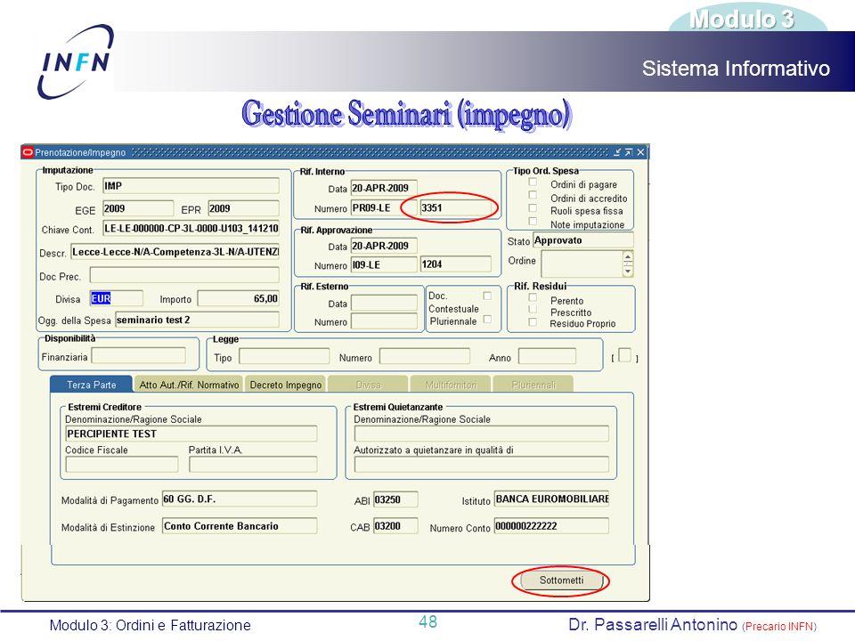 Gestione Seminari (impegno)