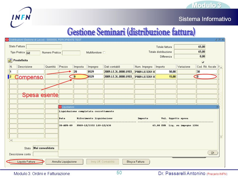 Gestione Seminari (distribuzione fattura)