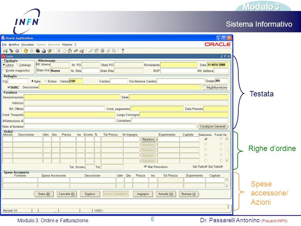Modulo 3 Sistema Informativo Testata Righe d'ordine