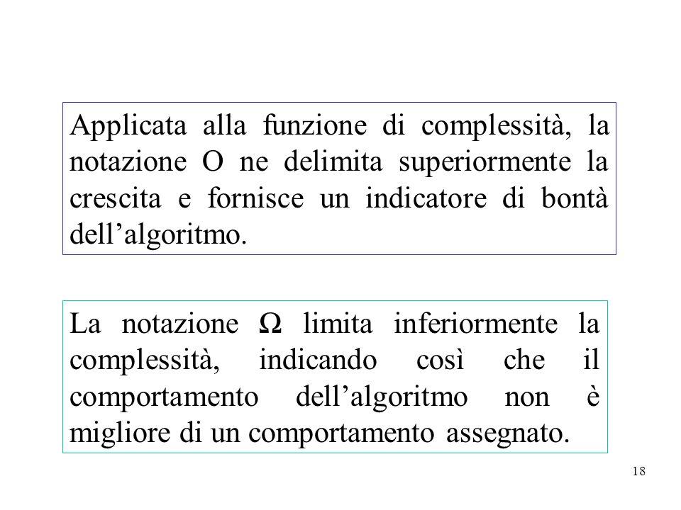 Applicata alla funzione di complessità, la notazione O ne delimita superiormente la crescita e fornisce un indicatore di bontà dell'algoritmo.