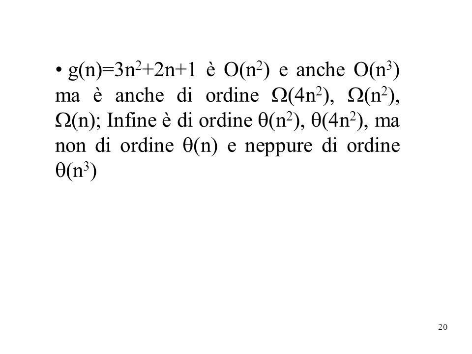 g(n)=3n2+2n+1 è O(n2) e anche O(n3) ma è anche di ordine (4n2), (n2), (n); Infine è di ordine (n2), (4n2), ma non di ordine (n) e neppure di ordine (n3)