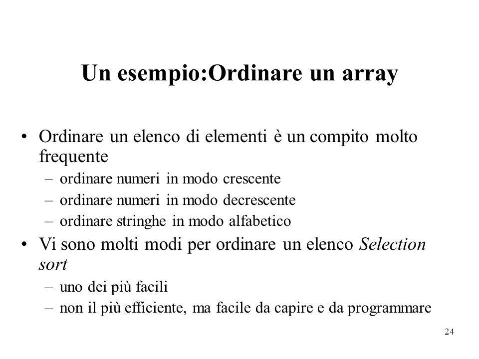 Un esempio:Ordinare un array