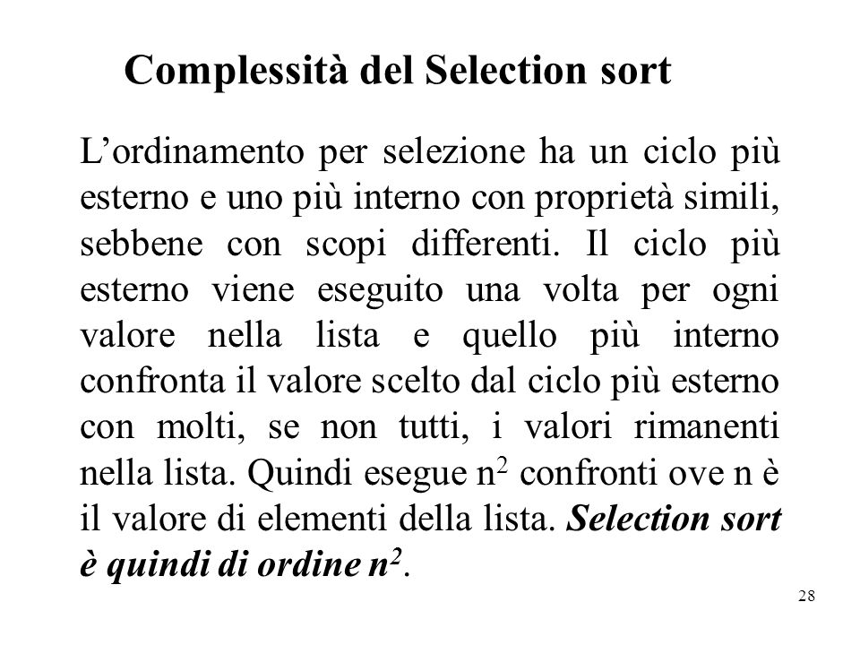 Complessità del Selection sort