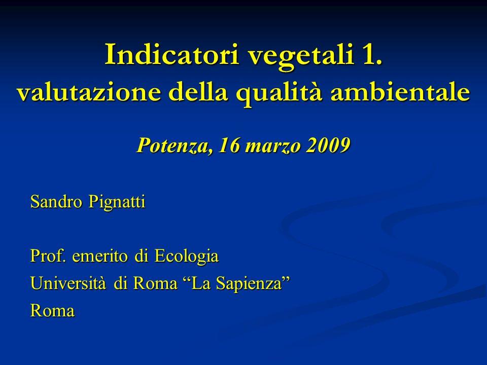 Indicatori vegetali 1. valutazione della qualità ambientale
