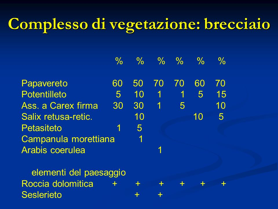 Complesso di vegetazione: brecciaio