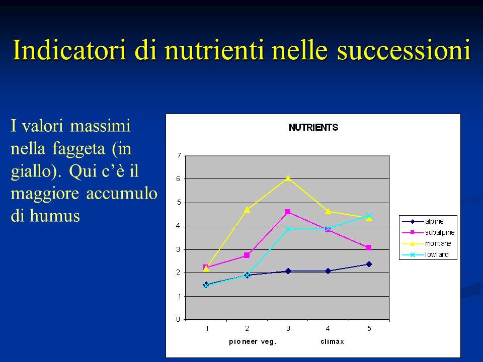 Indicatori di nutrienti nelle successioni