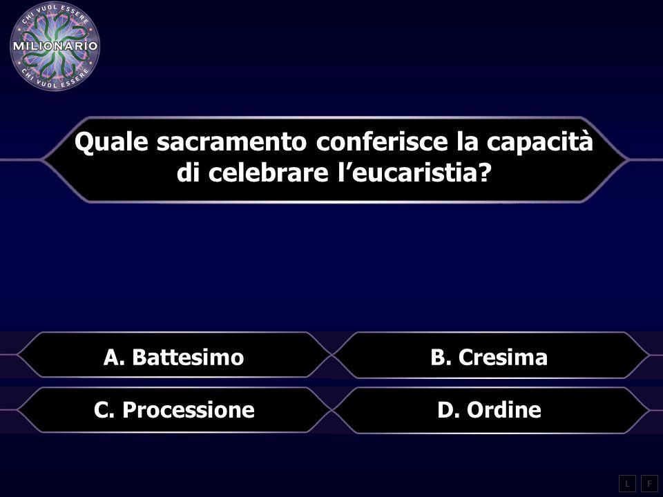 Quale sacramento conferisce la capacità di celebrare l'eucaristia