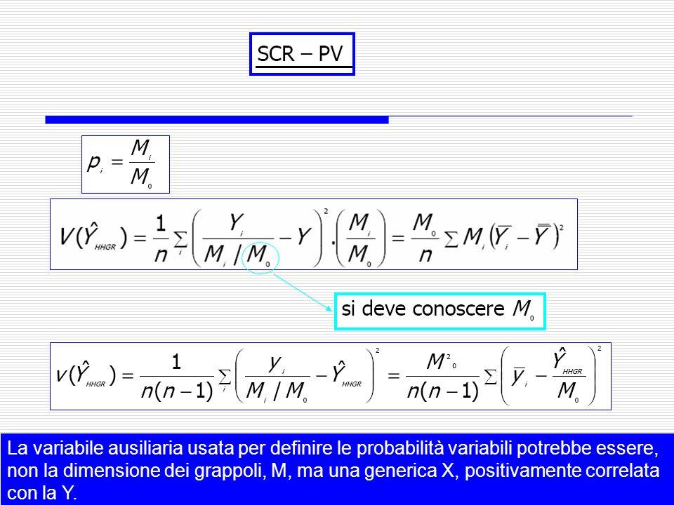La variabile ausiliaria usata per definire le probabilità variabili potrebbe essere, non la dimensione dei grappoli, M, ma una generica X, positivamente correlata con la Y.