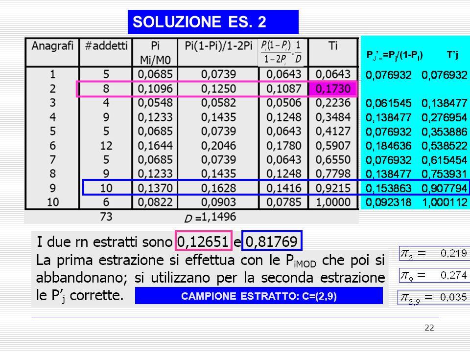 CAMPIONE ESTRATTO: C=(2,9)