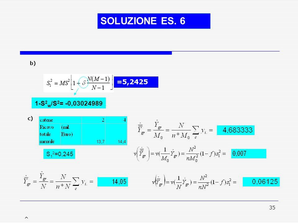 SOLUZIONE ES. 6 b) =5,2425 1-S2w/S2= -0,03024989 c) S12=0,245 ^ ^